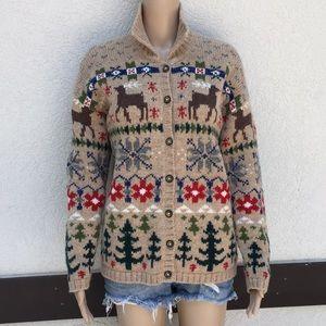 Talbots medium cardigan wool Christmas